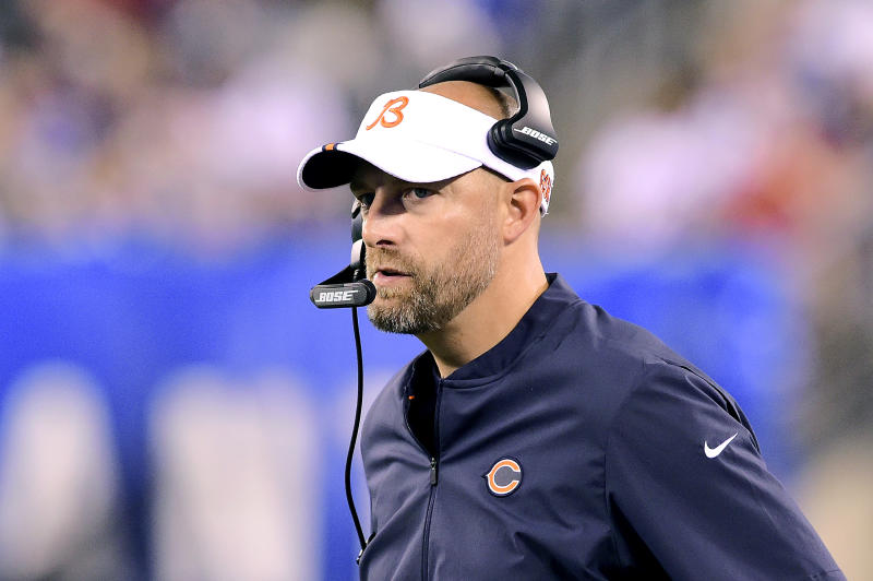 EAST RUTHERFORD, NEW JERSEY - AUGUST 16: Head coach Matt Nagy of the Chicago Bears looks on against the New York Giants during a preseason game at MetLife Stadium on August 16, 2019 in East Rutherford, New Jersey. (Photo by Steven Ryan/Getty Images)