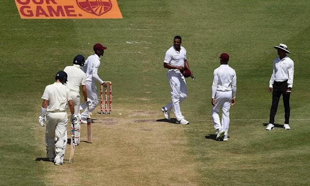 Shannon Gabriel, centre, exchanges words with England's Joe Root and Joe Denly.
