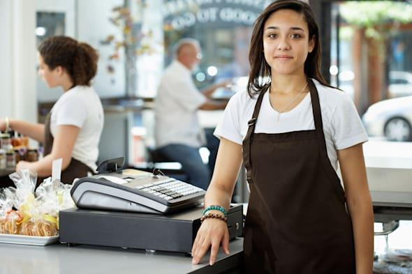 BFT656 Portrait of Store Clerk in Gourmet Food Shop teenager teen jobs unemployment people; business; food; 18-19; year; old; th