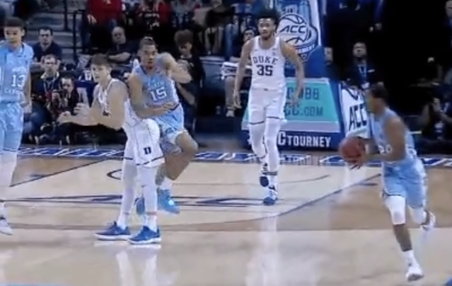 Grayson Allen earned a flagrant 1 for this foul on North Carolina's Garrison Brooks at the ACC tournament. (Screenshot: ESPN)
