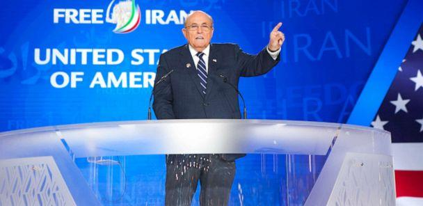 PHOTO: Rudy Giuliani addresses the annual Free Iran Conference at Ashraf 3, the headquarters of the Peoples Mujahideen Organization (MEK) of Iran on July 13, 2019, near Duress, Albania. (NurPhoto via Getty Images, FILE)
