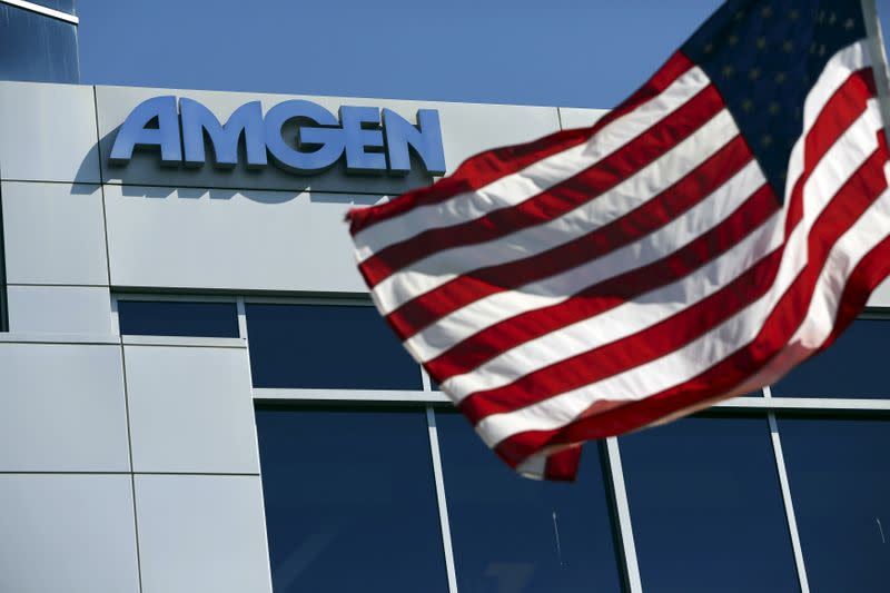 FILE PHOTO: An Amgen sign at the company's office in South San Francisco