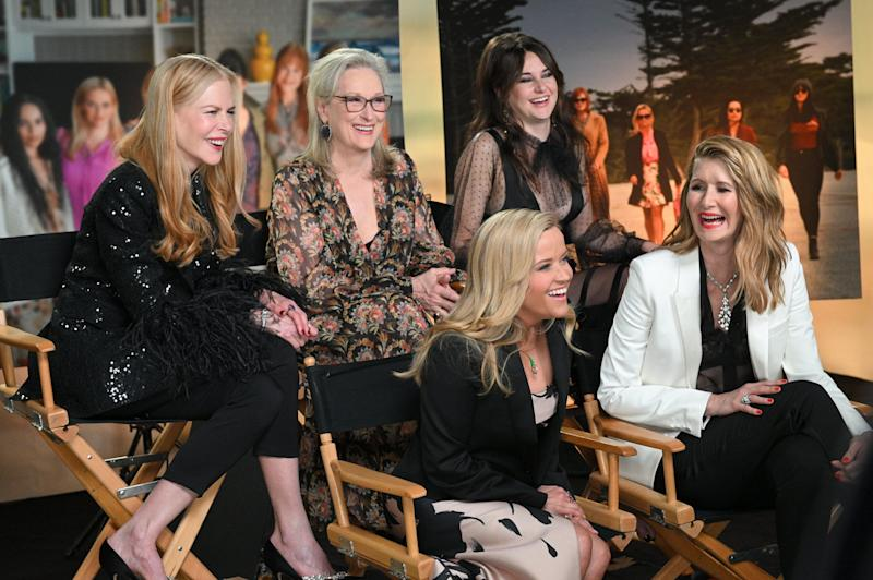 "GOOD MORNING AMERICA - 5/29/19 - Deborah Roberts interviews the cast of ""Big Little Lies"" on ""Good Morning America,"" airing Thursday, May 30, 2019 on ABC. (Photo by Lorenzo Bevilaqua/Walt Disney Television via Getty Images) NICOLE KIDMAN, MERYL STREEP, REESE WITHERSPOON, SHAILENE WOODLEY, LAURA DERN"