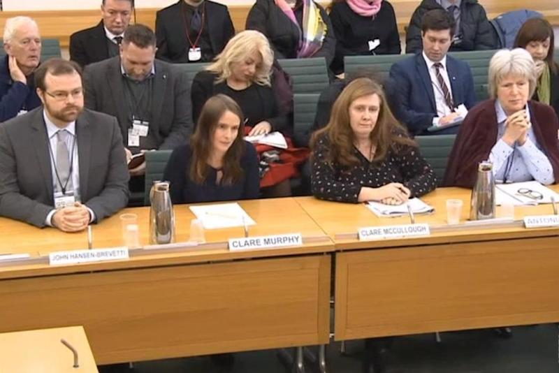 John Hansen-Brevetti from Marie Stopes in Ealing; Clare Murphy from the British Pregnancy Advisory Service; Clare McCullough from the Good Counsel Network; and Antonia Tully from the Society for the Protection of Unborn Children. (Parliament TV)