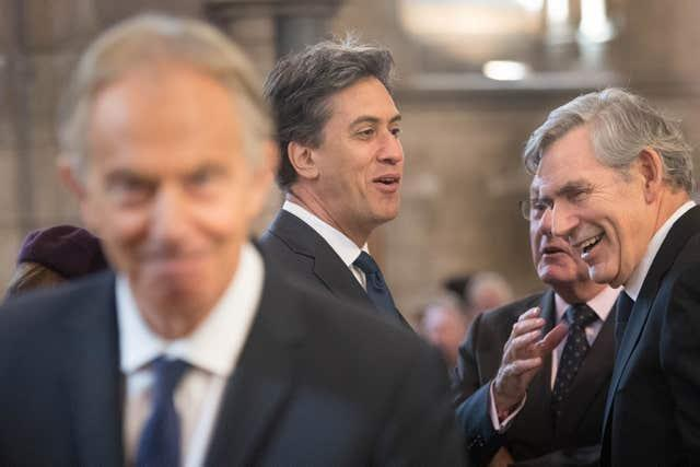 Former prime ministers Tony Blair and Gordon Brown with former Labour leader Ed Miliband (Stefan Rousseau/PA)