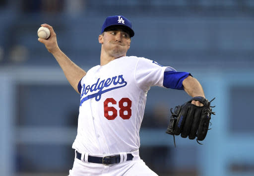 Los Angeles Dodgers relief pitcher Ross Stripling throws to the plate during the first inning of a baseball game against the San Diego Padres, Friday, May 25, 2018, in Los Angeles. (AP Photo/Mark J. Terrill)