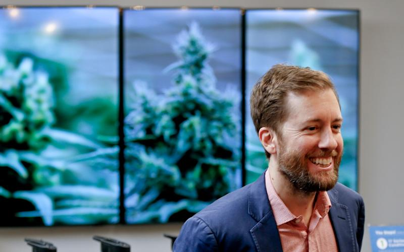 Charlie Bachtell, a co-founder of Cresco Yeltra, is interviewed during an open house and media availability for the opening of CY+ Medical marijuana Dispensary, Thursday, Feb. 1, 2018, in Butler, Pa. (AP Photo/Keith Srakocic)
