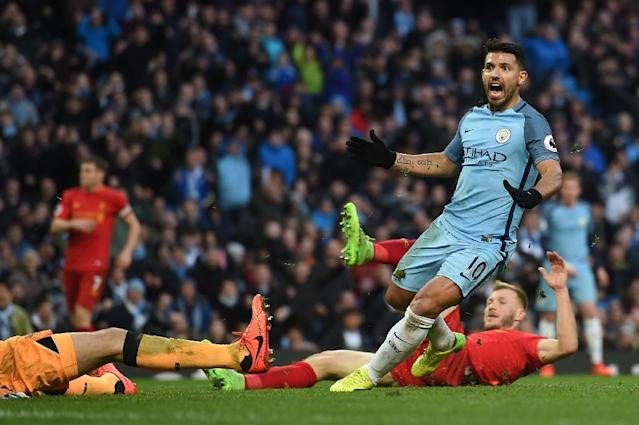 Manchester City's Sergio Aguero celebrates after scoring a goal during their English Premier League match against Liverpool, at the Etihad Stadium in Manchester, on March 19, 2017 (AFP Photo/Paul Ellis)