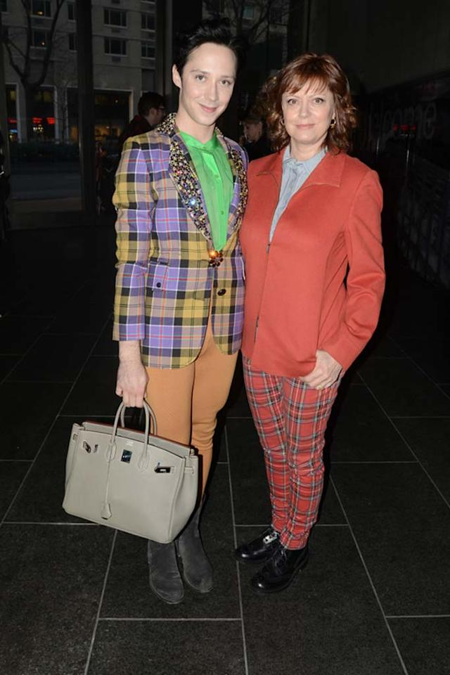 "Apparently, Johnny Weir and Susan Sarandon are mad about plaid. The eccentric figure skating champ and the Oscar winner were spotted sporting these questionable, checkered getups upon arriving at the Chris Benz Fall 2011 presentation during NYC's star-studded Fashion Week. Jeff Gentner/<a href=""http://www.gettyimages.com/"" target=""new"">GettyImages.com</a> - February 14, 2011"