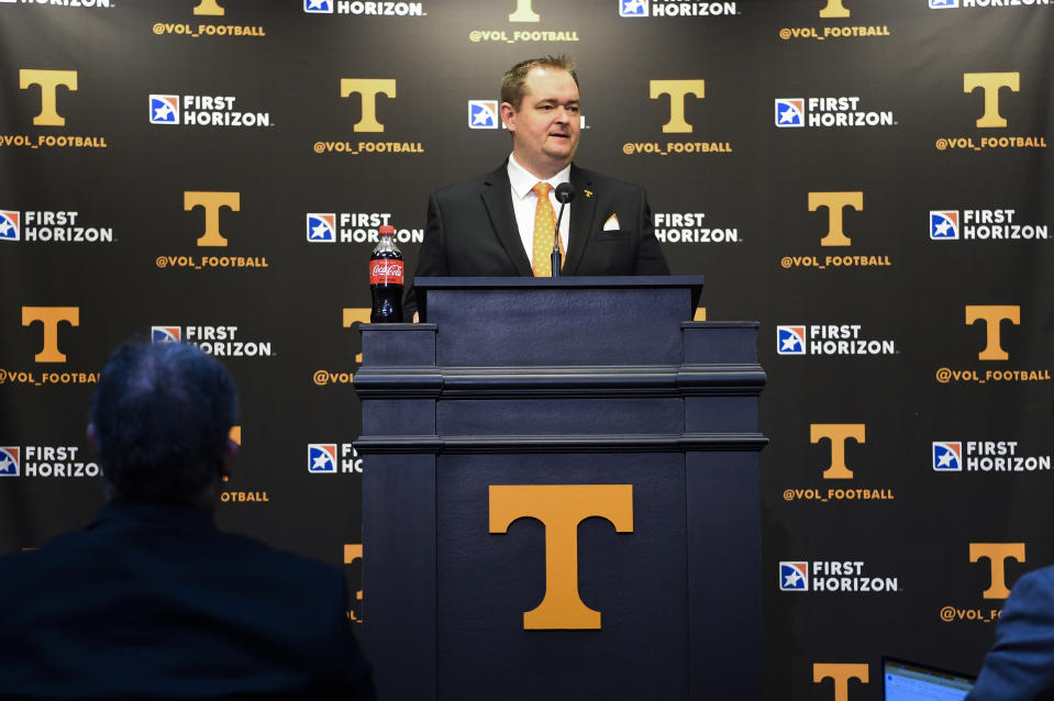 New Tennessee college football coach Josh Heupel speaks during an introductory news conference on Jan. 27. (AP)