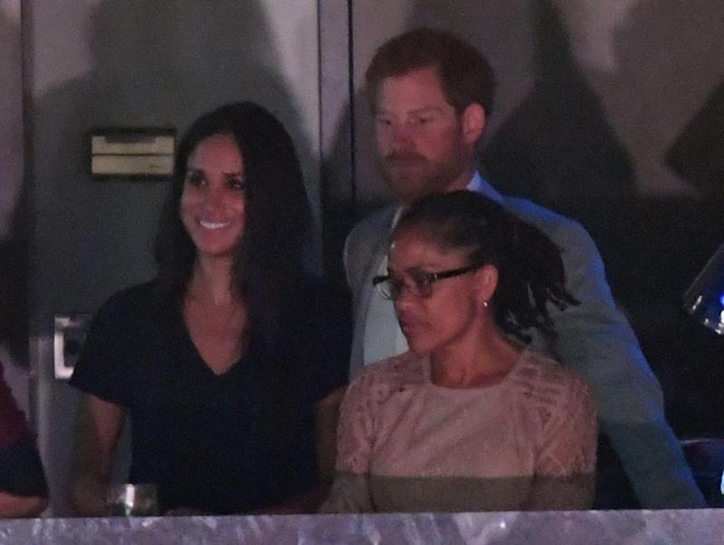 Meghan's mum Doria Radlan (front) joined them in the VIP box. Source: Getty