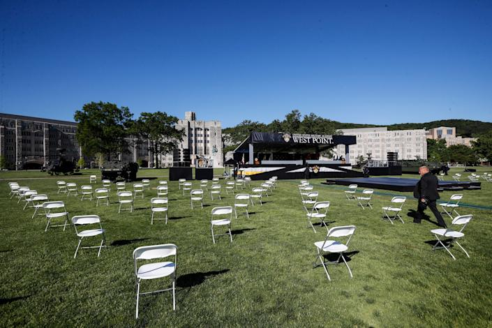 Seats for United States Military Academy graduating cadets are set up for social distancing before commencement ceremonies began on Saturday.