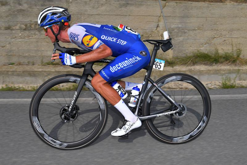 BAROLO ITALY AUGUST 12 Mikkel Frolich Honore of Denmark and Team Deceuninck QuickStep Breakaway during the 104th Giro del Piemonte 2020 a 187km race from Santo Stefano Belbo to Barolo 294m GranPiemonte GranPiemonte on August 12 2020 Barolo Italy Photo by Tim de WaeleGetty Images