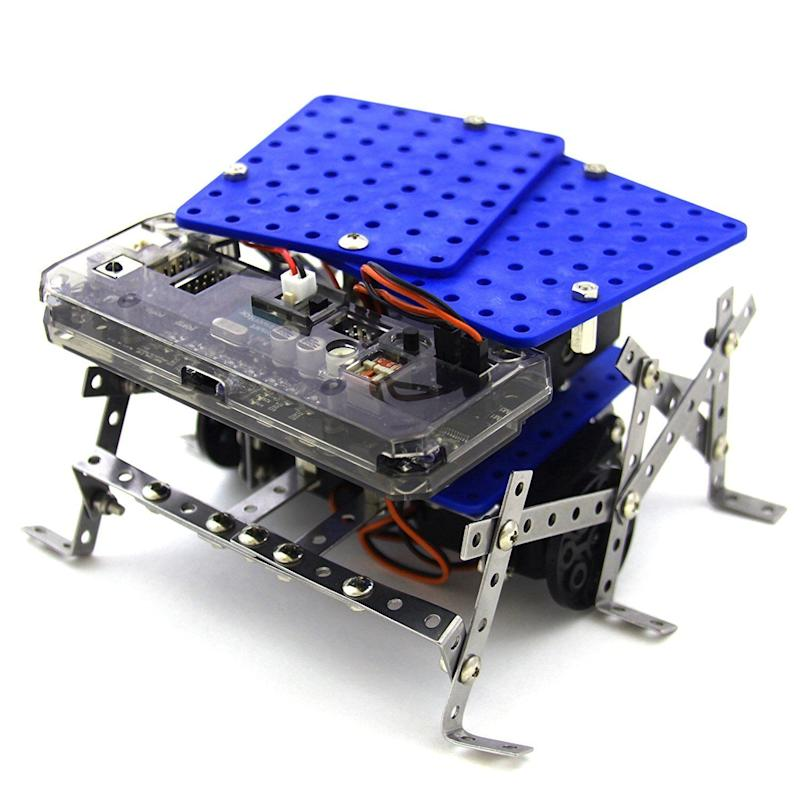 """This <a href=""""https://www.amazon.com/Programmable-Robot-Kit-Educational-Tutorials/dp/B0165RZJPW"""" target=""""_blank"""">robotics kit</a> can be transformed into 11 different types of robots, perfect fora beginner."""