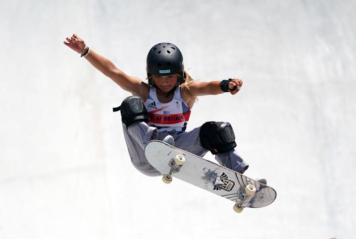 <p>Great Britain's Sky Brown performs and aerial trick during the women's park prelims heat.</p>