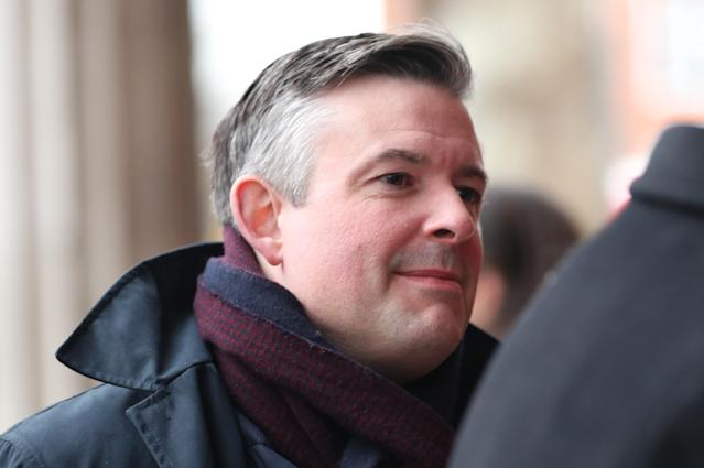 Shadow health secretary Jon Ashworth arrives for the funeral of Frank Dobson at St Pancras Church in London. (PA Images)