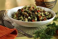 """<p>In this recipe, cauliflower is roasted then pulsed until it is the texture of couscous, then tossed with chickpeas, bell peppers, pickled apricots and olives. The chickpeas serve as a rich source of protein and carrot tops make a bright salsa verde that livens up the veggie-packed salad. </p> <p><a href=""""https://www.thedailymeal.com/recipes/roasted-cauliflower-couscous-salad-pickled-apricots-carrot-top-salsa-verde-recipe?referrer=yahoo&category=beauty_food&include_utm=1&utm_medium=referral&utm_source=yahoo&utm_campaign=feed"""" rel=""""nofollow noopener"""" target=""""_blank"""" data-ylk=""""slk:For the Roasted Cauliflower 'Couscous' Salad recipe, click here."""" class=""""link rapid-noclick-resp"""">For the Roasted Cauliflower 'Couscous' Salad recipe, click here.</a></p>"""