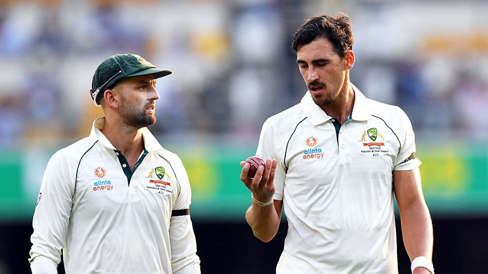 Pictured here, Aussie fast bowler Mitchell Starc alongside spinner Nathan Lyon.