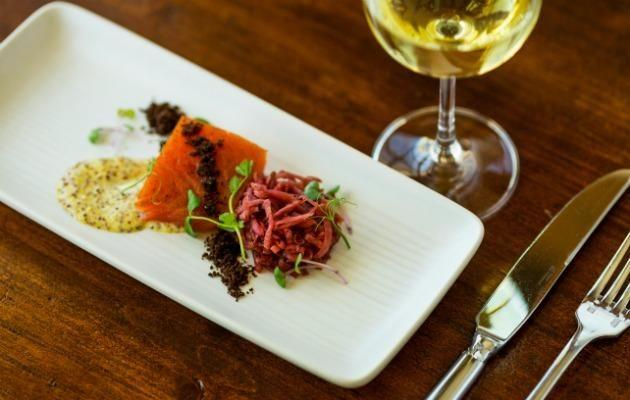 Smoked Salmon with Beet Sauerkraut at the Inns of Aurora dining room at the Finger Lakes
