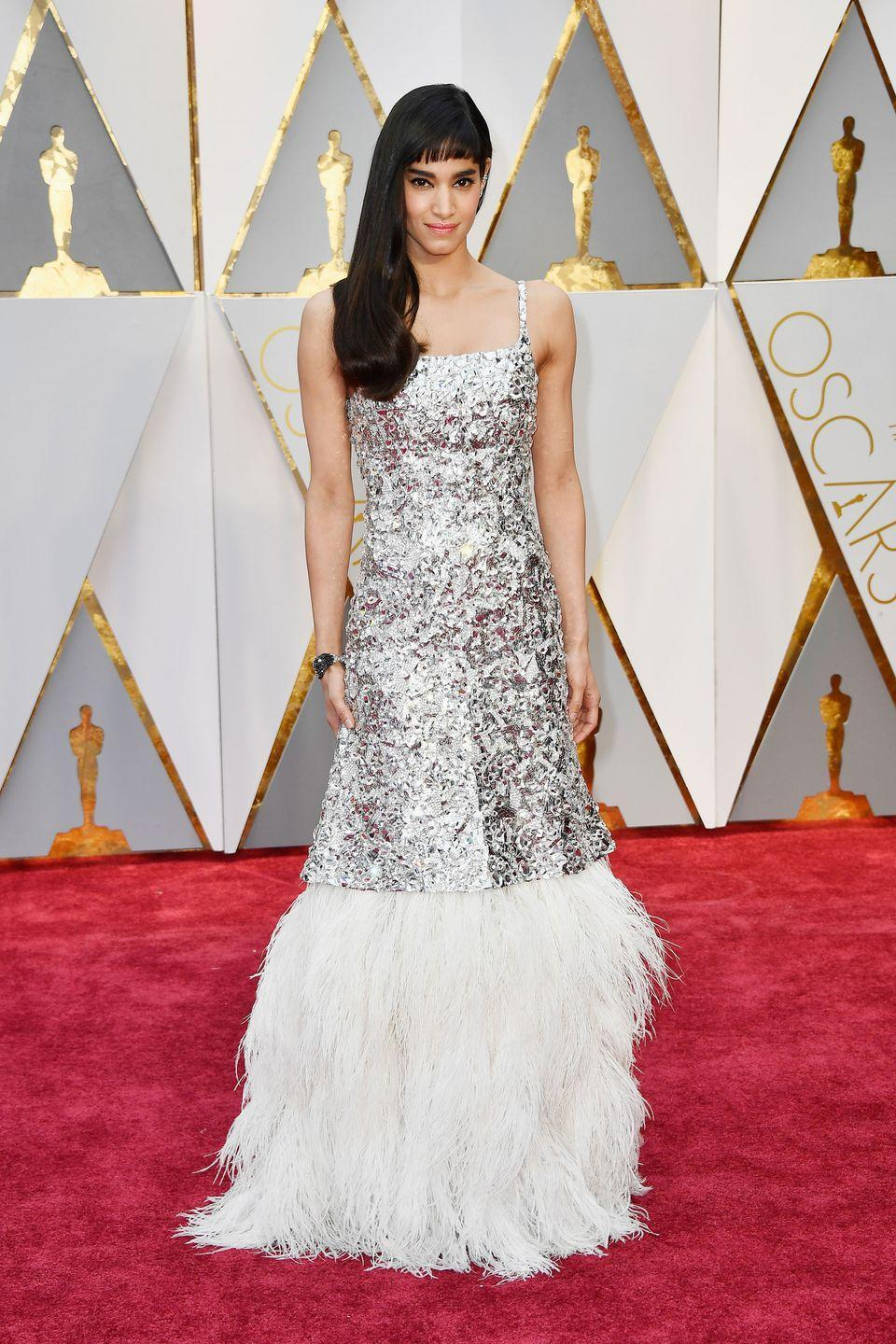 <p>Newcomer Sofia Boutella brought the shine to the red carpet in this sequin and feathered gown from Chanel Haute Couture, cementing her status as one to watch. </p>