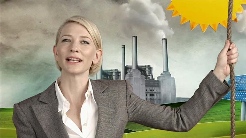 In this image made from an undated video footage provided by the World Wildlife Fund, actress Cate Blanchett appears in a television ad to support a proposed carbon tax. Blanchett and former conservative Prime Minister Malcolm Fraser are among prominent Australians who on Monday, May 30, 2011, threw their support behind the center-left government's unpopular plan to tax major polluters for the carbon gas they emit. (AP Photo/WWF) EDITORIAL USE ONLY
