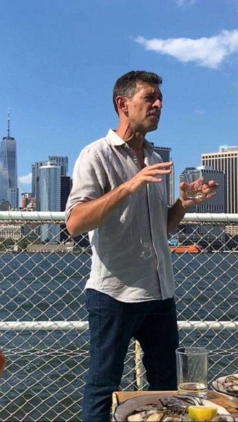 PHOTO: Rowan Jacobsen talks about oysters at Island Oyster on Governor's Island in New York City. (ABC News, Kelly McCarthy)