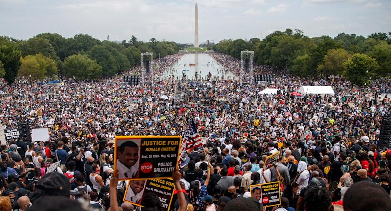 Thousands gathered as Martin Luther King III spoke at the National Action Network (NAN) Commitment March. Source: AAP