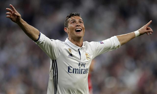 "<span class=""element-image__caption"">Cristiano Ronaldo celebrates after scoring Real Madrid's third goal during their Champions League quarter-final second leg against Bayern Munich at the Bernabéu.</span> <span class=""element-image__credit"">Photograph: Daniel Ochoa de Olza/AP</span>"