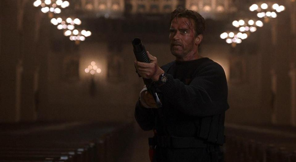 """<p>This apocalyptic action horror from director Peter Hyams pitted Schwarzenegger against Satan himself, in the earthly form of Gabriel Byrne. Its attempts to blend a 'Terminator'-esque set-up with a gothic supernatural sensibility are not a total success, but as ever, Schwarzenegger gets a few great lines in, most notably when he gets into a shouting match with Satan about which of them is worse: """"You're a f***ing choirboy compared to me, a CHOIRBOY!"""" (Picture credit: Universal) </p>"""