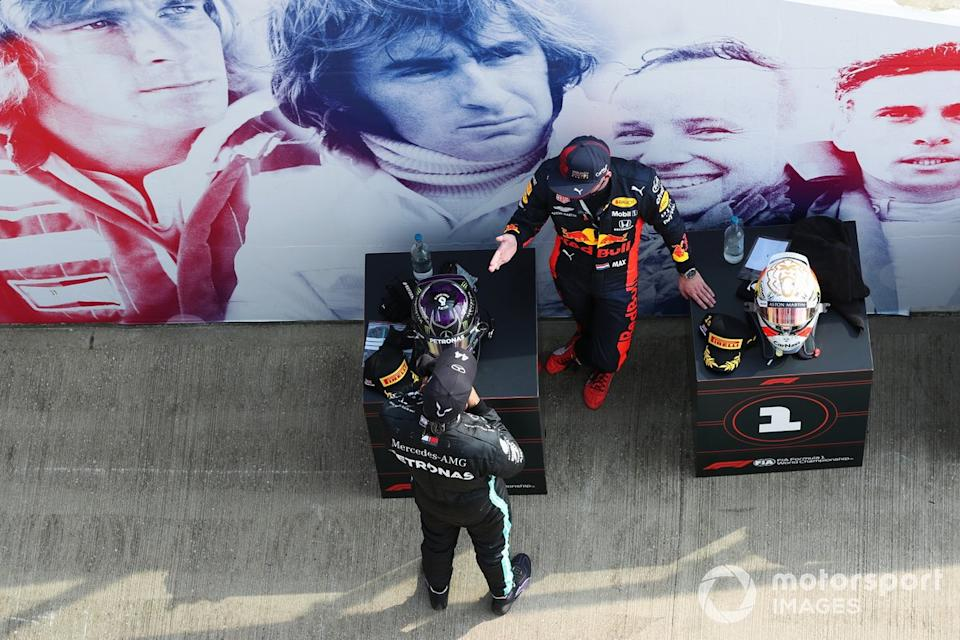 "Lewis Hamilton, Mercedes AMG F1, Max Verstappen, Red Bull Racing<span class=""copyright"">Charles Coates / Motorsport Images</span>"