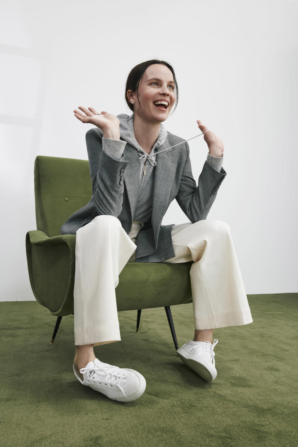 M.M. LaFleur's new line includes a blazer made out of soft cardigan material, otherwise known as a