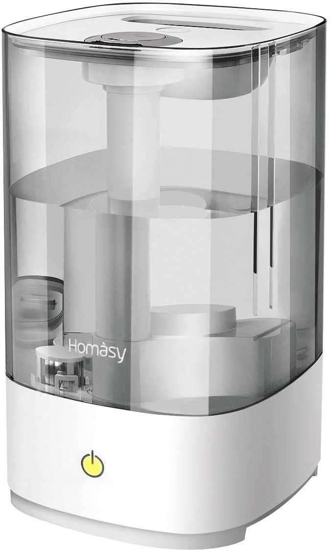 "<strong>The Large Humidifier</strong><br>This crisp, Amazon's Choice model can hold up to 4.5-liters of water for 30-hours of consistent cool moisture output — it also runs at a noise level that's described as, ""even lower than that of turning the page of a book.""<br><br><strong>The Hype:</strong> 4.5 out of 5 stars on <a href=""https://amzn.to/3pGOWZC"" rel=""nofollow noopener"" target=""_blank"" data-ylk=""slk:Amazon"" class=""link rapid-noclick-resp"">Amazon</a>.<br><br><strong>Air Aficionados Say:</strong> ""So quiet! So effective! Holds a lot of water. It's great."" — Amazon Customer, Amazon Review<br><br><strong>Homasy</strong> Ultrasonic Cool Mist Humidifier, 4.5L, $, available at <a href=""https://amzn.to/3pGOWZC"" rel=""nofollow noopener"" target=""_blank"" data-ylk=""slk:Amazon"" class=""link rapid-noclick-resp"">Amazon</a>"