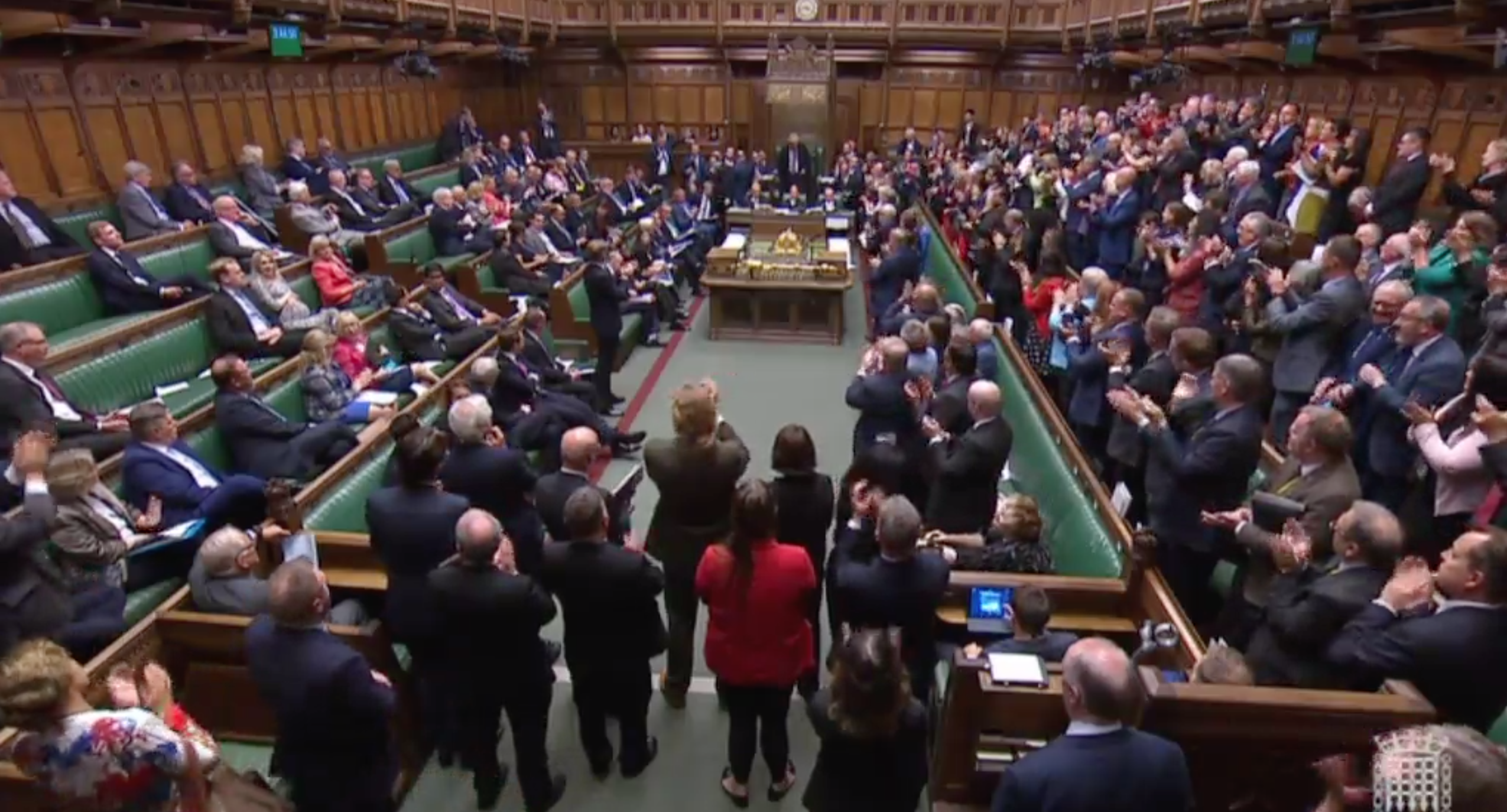 Political divide: Labour MPs applaud Bercow, while most Tory counterparts refuse to stand or clap the outgoing Speaker. (PA)