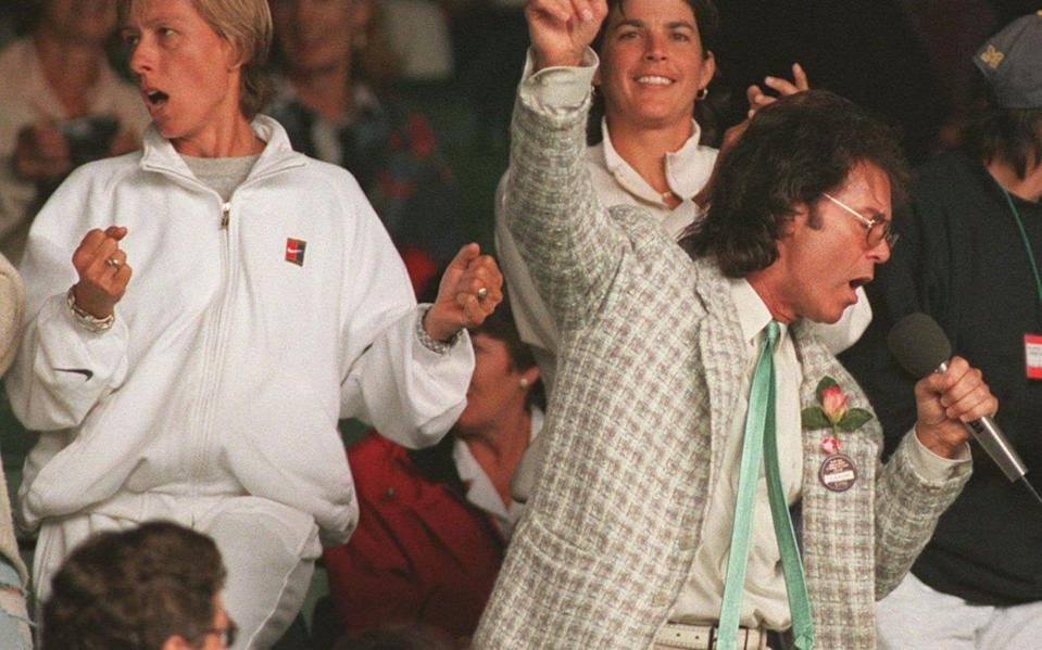 Centre Court being subjected to Cliff Richard during a rain break in 1996 - AP
