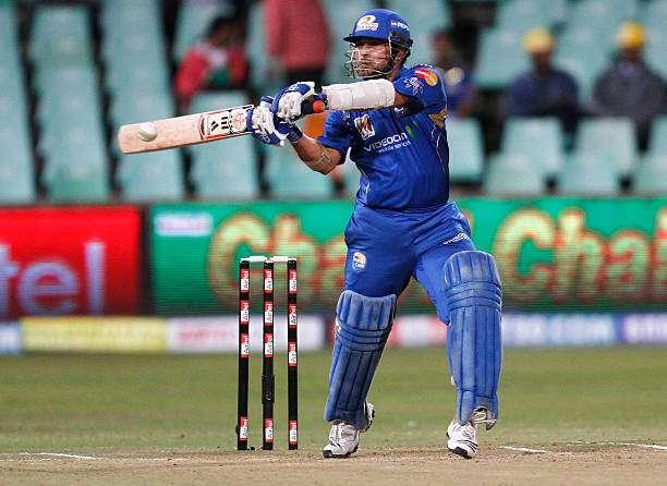 DURBAN, SOUTH AFRICA - SEPTEMBER 16: Sachin Tendulkar of Mumbai Indians in action during the Airtel Champions League Twenty20 match between Mumbai Indians and Guyana at Sahara Kingsmead Stadium on September 16, 2010 in Durban, South Africa. (Photo by Anesh Debiky/Gallo Images/Getty Images)