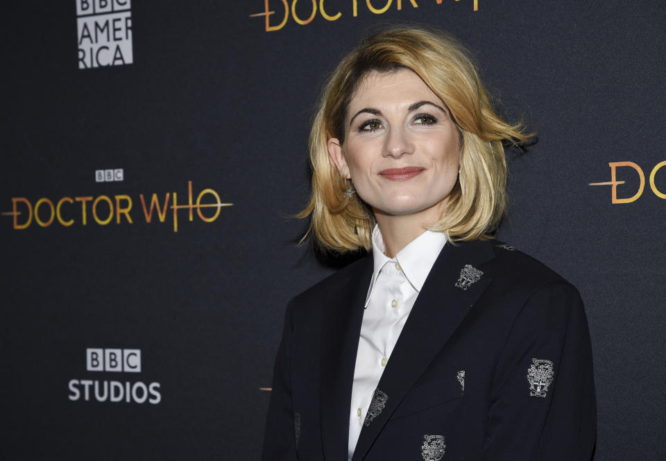"""British actor Jodie Whittaker attends a special screening of BBC America's """"Doctor Who"""" at the Paley Center for Media on Sunday, Jan. 5, 2020, in New York. (Photo by Evan Agostini/Invision/AP)"""