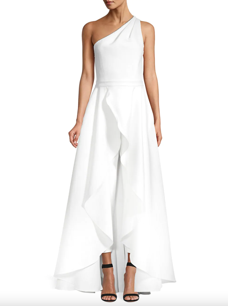 Jay Godfrey Orlando One-Shoulder Skirt Overlay Jumpsuit (Photo via Saks Fifth Avenue)