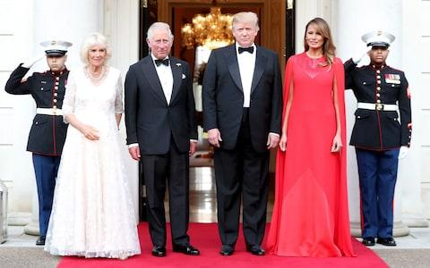 US President Donald Trump and First Lady Melania Trump host a dinner at Winfield House for Prince Charles, Prince of Wales and Camilla, Duchess of Cornwall - Credit:  Chris Jackson/Getty Images