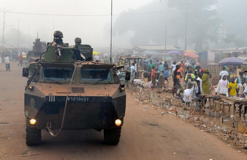 French soldiers patrol in Bangui, Central African Republic on December 4, 2014
