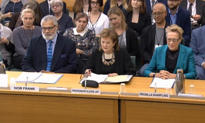 Leader of the Independent Inquiry into Child Sexual Abuse Alexis Jay,left, and panel members Drusilla Sharpling and Ivor Frank at earlier hearings.