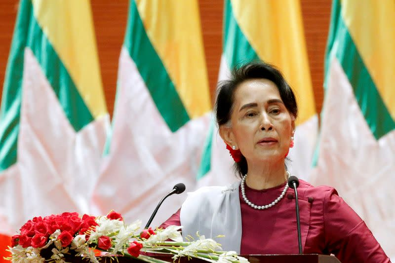 FILE PHOTO: Myanmar State Counselor Aung San Suu Kyi delivers a speech to the nation over the Rohingya situation in Rakhine, in Naypyitaw, Myanmar