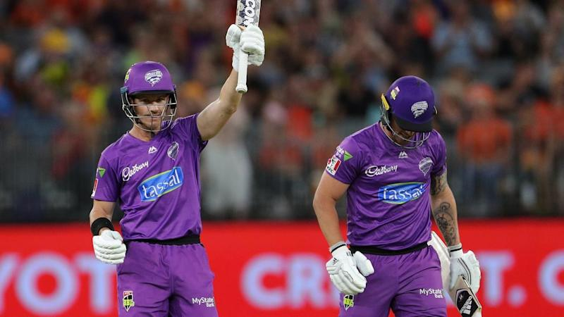 Hurricanes star D'Arcy Short (L) has smashed an unbeaten ton to guide his side to a win over Perth
