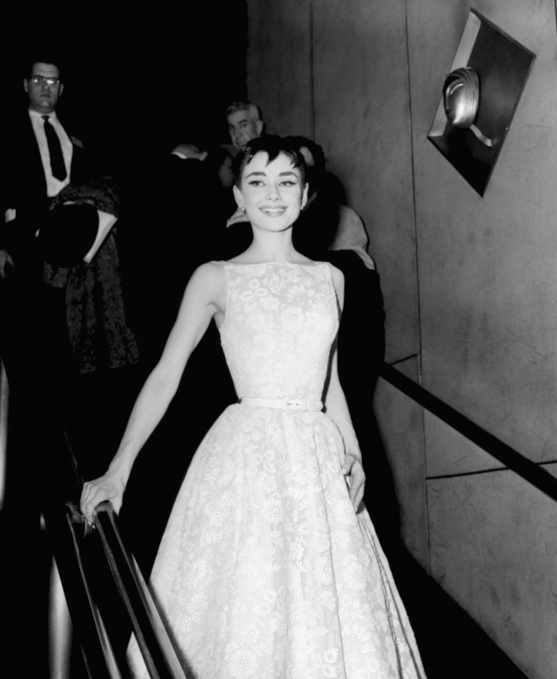 Hepburn wearing a Givenchy gown at the 26th annual Academy Awards at the Pantages Theater in Los Angeles on March 25, 1954.
