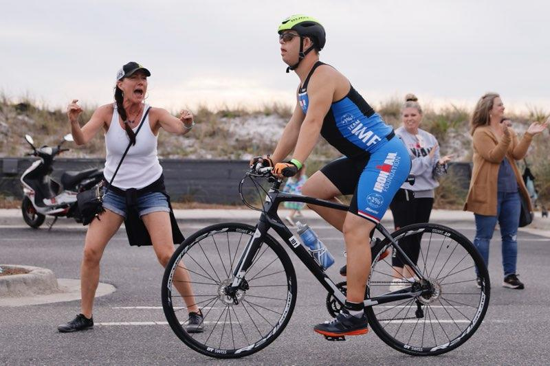 Chris Nikic on bike during ironman triathlon