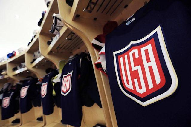 TORONTO, CANADA - SEPTEMBER 20: A general view of the Team USA locker room prior to a World Cup of Hockey 2016 game against Team Canada at Air Canada Centre on September 20, 2016 in Toronto, Canada. (Photo by Vaughn Ridley/World Cup of Hockey via Getty Images)