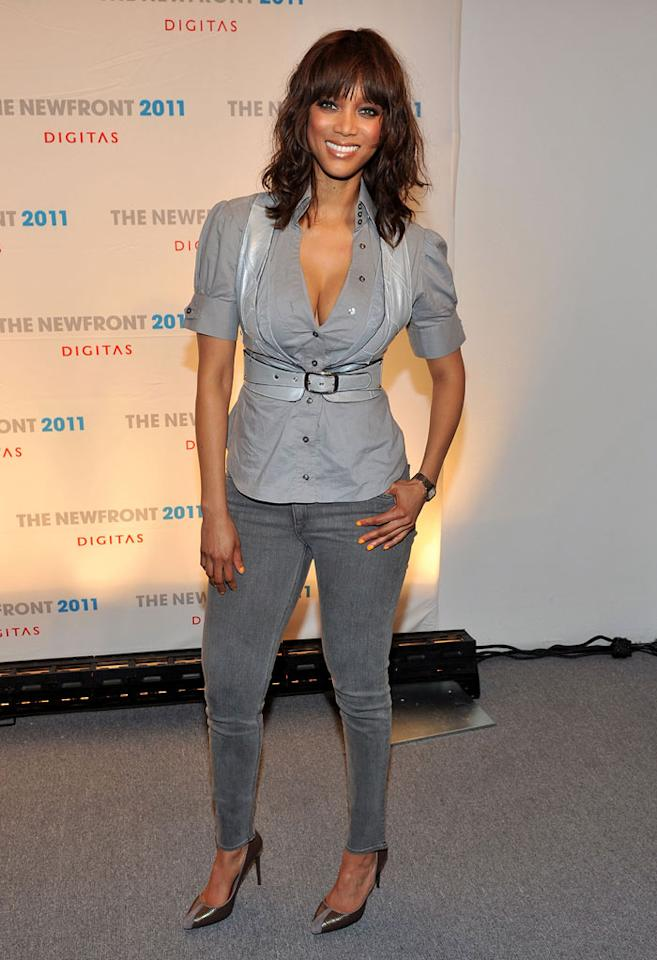 """""""America's Next Top Model"""" host Tyra Banks was having a gray day on the red carpet in a pair of skinny jeans. At least her nail polish provided a little burst of color! Henry S. Dziekan III/<a href=""""http://www.wireimage.com"""" target=""""new"""">WireImage.com</a> - June 9, 2011"""