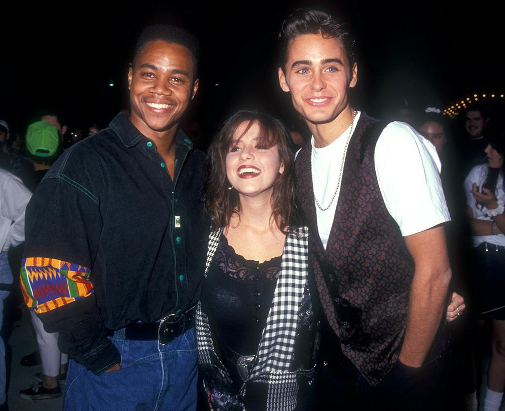 """<p>'Cool As Ice' Premiere (1991)</p><p><em>""""Boyz n the Hood""""</em> star Cuba Gooding Jr. posed with <em>Punky Brewster</em>'s Soleil Moon Frye and up-and- coming actor Jared Leto at the premiere of Vanilla Ice's film in 1991. (Photo: Barry King/WireImage)</p>"""