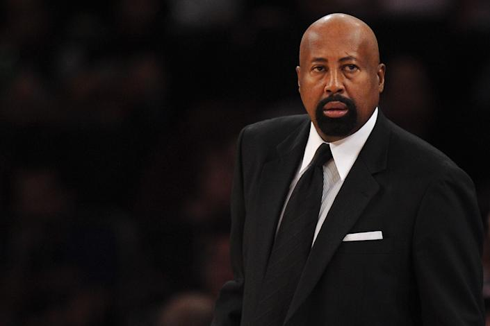 NEW YORK, NY - NOVEMBER 16:  New York Knicks head coach Mike Woodson looks on during the first half against the Atlanta Hawks at Madison Square Garden on November 16, 2013 in New York City. The Hawks defeat the Knicks 110-90.  NOTE TO USER: User expressly acknowledges and agrees that, by downloading and/or using this photograph, user is consenting to the terms and conditions of the Getty Images License Agreement.  (Photo by Maddie Meyer/Getty Images)