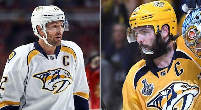Mike Fisher during Game 1 against the Blackhawks (Robin Alam/Getty) vs. Mike Fisher after Game 4 of the Stanley Cup Final (Christopher Hanewinckel-USA TODAY Sports).