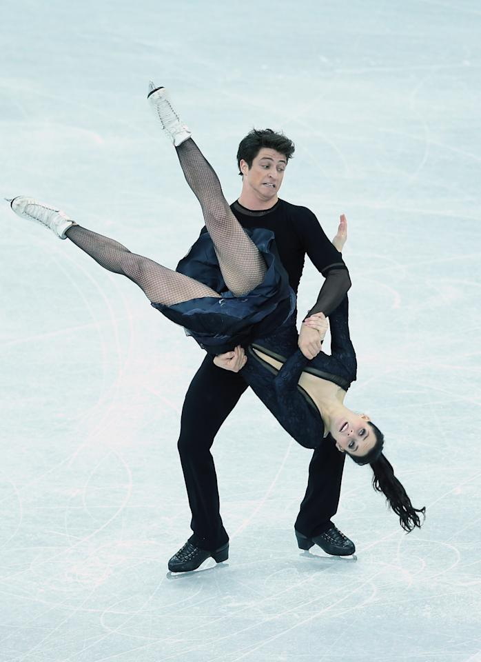 SOCHI, RUSSIA - DECEMBER 08:  Tessa Virtue and Scott Moir of Canada perform in the Ice Dance Free Dance during the Grand Prix of Figure Skating Final 2012 at the Iceberg Skating Palace on December 8, 2012 in Sochi, Russia.  (Photo by Julian Finney/Getty Images)